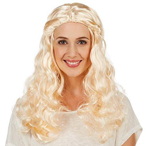 Frauenperücke Mittelalter Edle Hofdame | Wunderschöne, Lange Lockenpracht | Zwei Nach Hinten gebundene, Geflochtene Zöpfe (Blonde Renaissance Perücke Kostüme)
