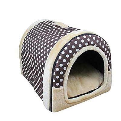 Enerhu Gato Mascota Cama Del Perro de Plegable Suave Invierno Leopardo Cueva Casa de Perro Lindo Perrera Nido Gato Cama Del Perro Puntos S