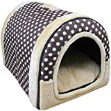 Beautylife77 Warm Pet Kennel Puppy House Plush Dog Cat/Kitty Bed Pet Indoor House DotsL