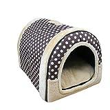 Hochwertig Tragbar draußen Outdoor Hundehöhle Hundebett Hundehütte Katzenbett im Form von Hause Polka Dot L