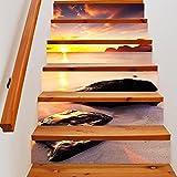 HHYS LT0018 Treppen Aufkleber Wasserdicht Selbstklebend DIY Wandgemälde Strand Rock Sonnenuntergang Muster