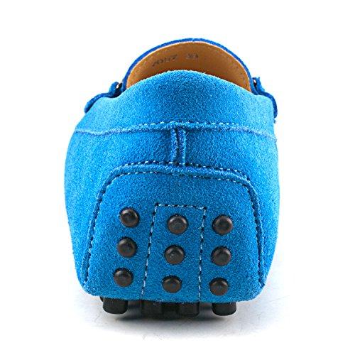 Shenduo Classic, Mocassins femme daim - Loafers multicolore - Chaussures bateau & de ville confort D7057 Bleu