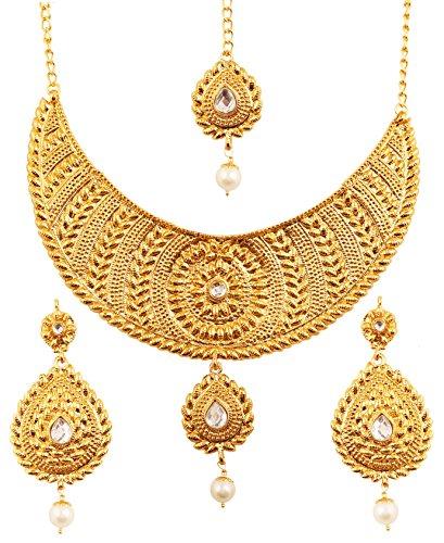 Touchstone collana di gioielli etnici e innovativi di design pesante impreziosita da perle finte kundan polki jadau ss per donna oro