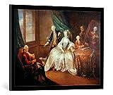 Image encadrée: Johann Christian Mannlich 'Marie-Anne Camasse Comtesse de Forbach und zwei ihrer Kinder' - impression d'art décorative, en cadre de haute qualité, 85x65 cm, Noir / Bord gris