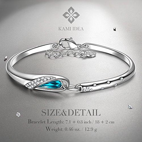 Kami Idea Damen Aschenputtel Armband mit Kristallen von Swarovski Blauen Oval Nickel Free Passed SGS Test 18+2cm