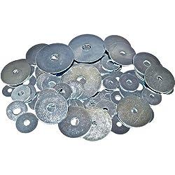 Merriway BH00910 Workshop Assortment of Penny Repair Mudguard Washers-Pack of 70 Large Flange, Silver Bulk Hardware