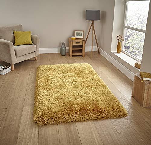 Think Rugs handgetufteter, schwerer Hochflor-Teppich »Montana«, gelb, 80 x 150 Cm - Hand Getuftet Teppiche