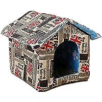 Luerme Pequeño y cálido Perro Mascota Gato Casa de la Casa Perrera Mascota Impermeable Portátil Casa de Mascotas Al Aire Libre Nido Cuatro Estaciones Perrera Doble Techo Mascota Nido
