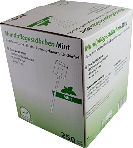 Mundpflegestäbchen Zuckerfrei mit Geschmack Medi-Inn Mundpflege Mundhygiene (250 Stück, Geschmack Mint)