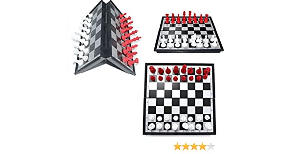 FOLDING MAGNETIC CHESS BOARD FANCY RED /& BLACK COLOR PIECES WITH INSTRUCTION