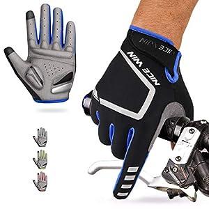LOHOTEK Guantes de Ciclismo Motocicleta Bicicleta Montaña-Acolchados Bicicleta de Carretera de Hombres Mujeres Antideslizante Pantalla Táctil (Azul, M)
