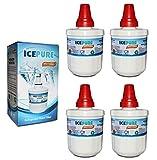 4 Pack Samsung DA2900003F Aqua Pure Plus Replacement Refrigerator Filter by IcePure RFC2900A