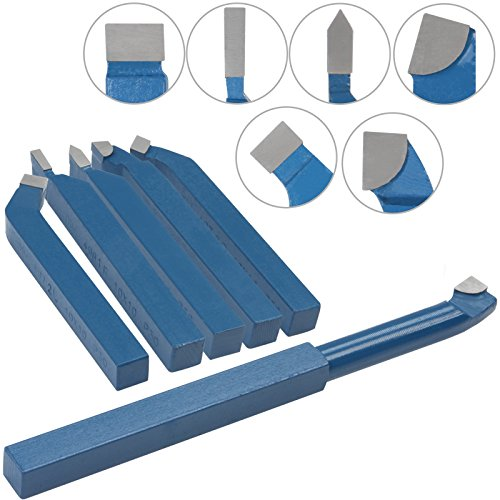 Timbertech 6 Piece Lathe Turning Boring Tool Set 10/10 mm Carbide Metal High Speed Cutting Parting Accessories