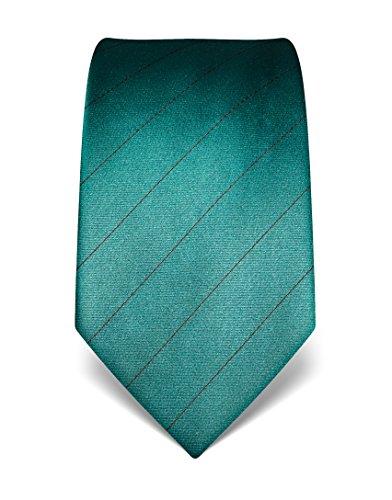Vincenzo Boretti Herren Krawatte aus reiner Seide, gestreift, in vielen Farben,petrol