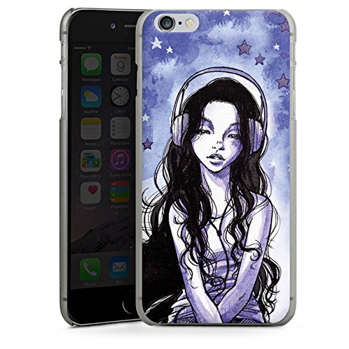 Apple iPhone X Silikon Hülle Case Schutzhülle Mädchen Kopfhörer Sterne Hard Case anthrazit-klar