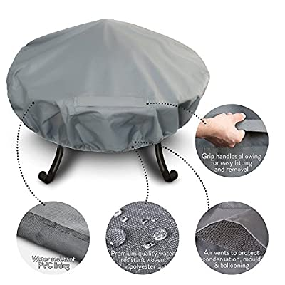 Bduk Premium Fire Pit Cover With Covered Air Vents And Elastic Hem For Secure Fit All Season Water Resistant Outdoor Garden Fire Pit Bbq Protection From Rain Dirt Dust Frost And More by BDUK