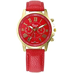 WINWINTOM Roman Numerals Faux Leather Analog Quartz Wrist Watch Red