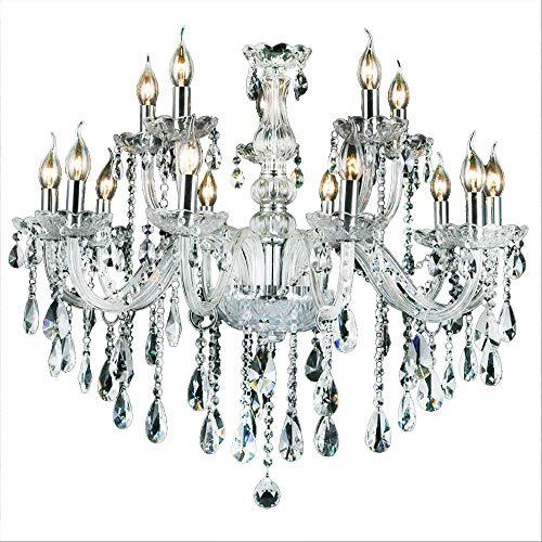 15 Licht-kristall-kronleuchter (10+5-flammig Transparent Kristall Hängeleuchte Klassisch Kronleuchter Pendelleuchte Deckenleuchte antik Kristall Lüster E14)