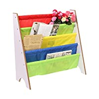 "Wooden Book Storage Rack, Multi-color Children Kids Bookcase Free Standing Sling Storage Bookshelf with 5 Strong Polyester Fabric Pockets 26""×11""×23"" (For Age 3 and Above)"