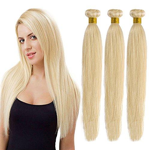 Extension capelli veri tessitura doppia biondi matassa grado 7a - 100% remy virgin human hair naturali umani lisci, 613# biondo chiarissimo 60cm 100g