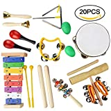 Musical Instruments Set, 20 PCS Wooden Percussion Toy Rhythm & Music Education Band Set Fun Toddlers Toys Best Christmas Gift for Kids