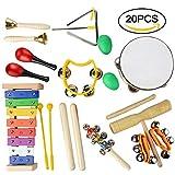Lot de 20 instruments de musique en bois - Jouet - Percussion - Éducation au rythme et à la musique - Ensemble de groupe amusant pour les tout-petits - Cadeau idéal pour les enfants