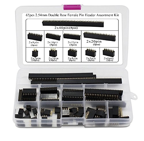 Aussel 65 Pieces 2.54mm Female Pin Header Double Row Pin Assortment Kit for Arduino Stackable Shield (PIN-D F 65PCS)