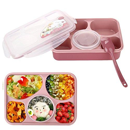 Bestland Bento Box Mikrowelle und Spülmaschinenfest Lunch Box mit mit 5 + 1 Getrennt Containers - Rosa Erwachsenen-lunch-box