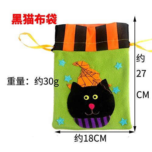 ehör Dekorieren drop-down, fusselfreien Tuch Handtasche Kürbis Kinder Geschenkbeutel candy Ghost Festival weibliche Schamanen spider Beutel, schwarze Katze ()