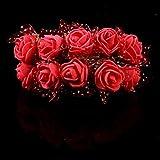 Lucky Will 144 Stück Klein Künstliche Rosen Blumen Kunstblumen Blumensträuße Hochzeits Deko rot