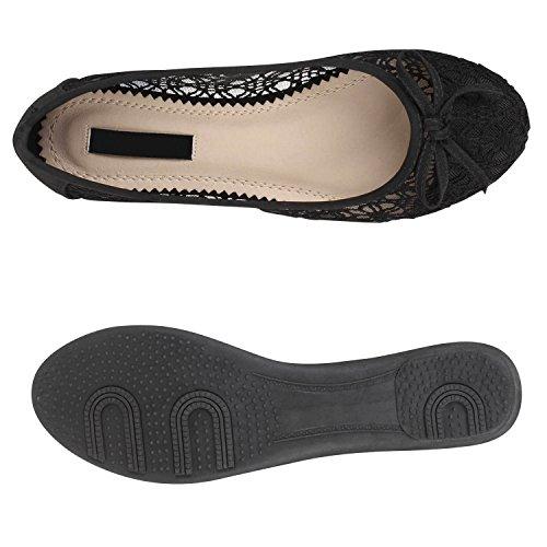 Klassische Damen Ballerinas Leder-Optik Flats Schuhe Übergrößen Flache Slipper Spitze Prints Strass Flandell Schwarz Spitze