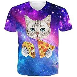 Leapparel Hombres 3D Gato Animal Impreso Casual Manga Corta V Cuello Camisetas Xl