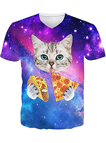 Leapparel 3D Galaxy Space Pizza Katze Bedruckt Hip Hop Stilvolle Jersey V Neck T-Shirts FüR Herren S (Spandex T-shirt Jersey)
