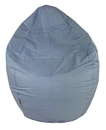 Joyfill Sitzsack mit Bezug, Stuhl für Kinder und Erwachsene, Weicher Stoff, 240L groß - (913 Vichy blau)