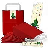 10 rote Papiertüte Geschenk-tüte Weihnachtstüte Boden 18 x 8 x 22 cm kleine Papiertasche + Weihnachts-Aufkleber Weihnachtsbaum grün rot gelb Verpackung Geschenke Weihnachten