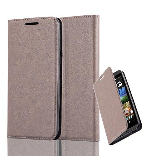 Cadorabo Hülle für HTC Desire 820 - Hülle in Kaffee BRAUN – Handyhülle mit Magnetverschluss, Standfunktion und Kartenfach - Case Cover Schutzhülle Etui Tasche Book Klapp Style