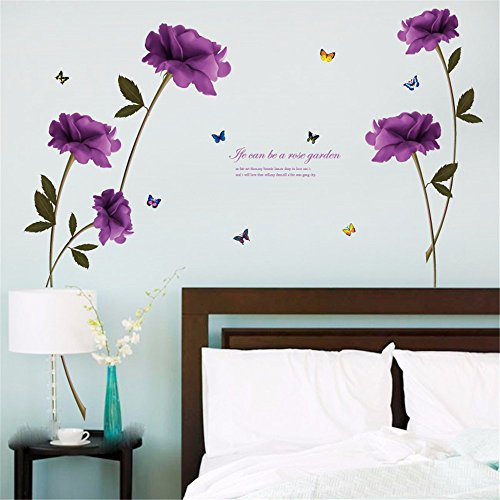 XJKLFJSIU Rose Viola Che Vivono Wall Stickers Camera Da Letto ...
