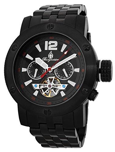 Burgmeister BM329-622 - Reloj para hombres, correa de acero inoxidable chapado color negro