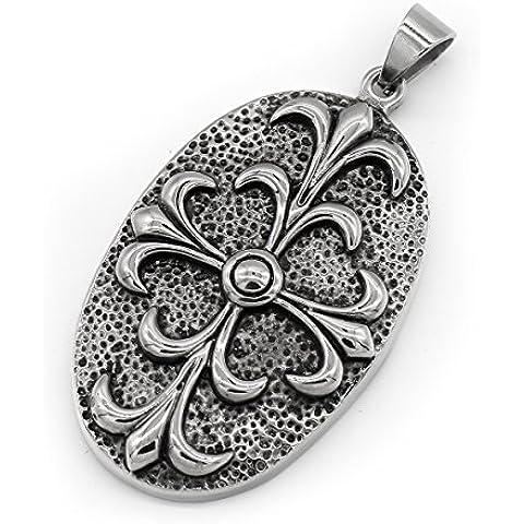 ICONIC Pareja de joyería de moda collar salvaje del iris de acero inoxidable colgante de la flor de Spike -con cadena de 23 pulgadas
