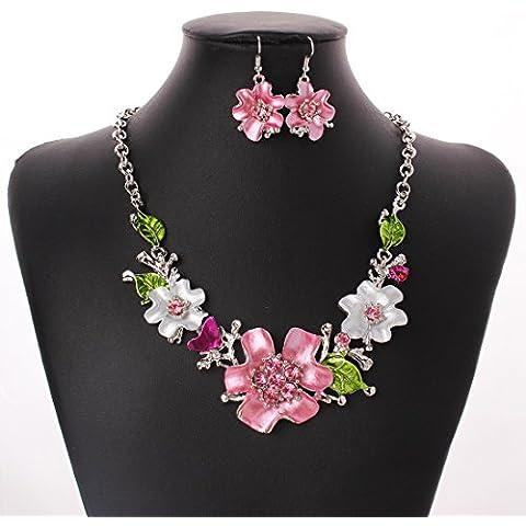 tianqin WY Mujer Vogue Bañado en Plata Encantador Crystal Flower babero cuello forma de flores y mariposas collar y pendientes Jewelry