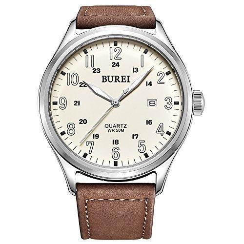 Burei Men's Luminous marqueurs Expedition Date montre à quartz avec bracelet Marron, cadran beige