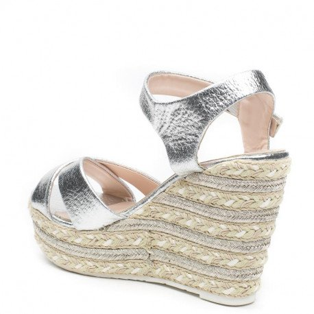 Ideal Shoes - Sandales compensées et nacrées Julia Argent