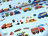 Baumwollstoff Meterware Kinderstoff Fahrzeuge Feuerwehr