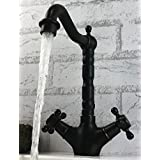 WYX@ Européenne cuivre pivotant noir antique double allumage froide et chaude robinet d'évier