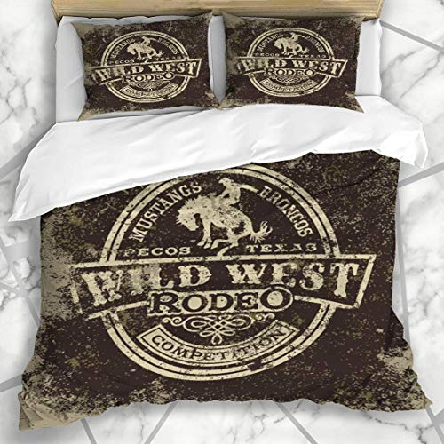Bettwäschesets Cowboy Wild West Rodeo Vintage Style Sport Erholung Western Texas Horse Country Design Mikrofaser Bettwäsche mit 2 Pillow Shams -
