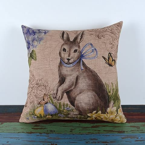 LINKWELL 18 by 18 Happy Easter Retro Smile Rabbit Color Egg Burlap Cushion Covers (CC765) by LINKWELL