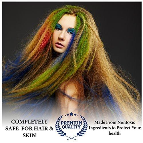 24 Farben - Ungiftige temporäre Haarfarbe - Zeichnen Sie auf Ihr Haar, kann man leicht abwaschen (Vorgeben Kostüme)