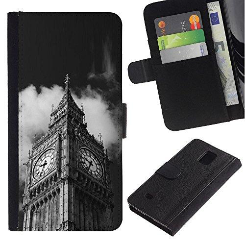 LeCase - Samsung Galaxy Note 4 SM-N910 - Architecture Big Ben Close Up London - U Cuoio Custodia Portafoglio Snello caso copertura Shell armatura Case Cover Wallet Credit Card