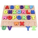 D DOLITY Holz Zahlen / Buchstaben Block Sortieren & Stapeln Steckpuzzle Montessori Spielzeug für Kinder und Baby - Großbuchstaben