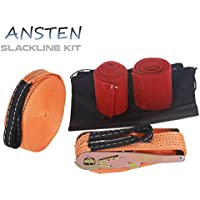 ANSTEN Slackline kit with tree guards and carrying bag, easy to set up Slackline set 15M with instruction booklet, perfect for children and for the family Outdoor fun